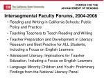 intersegmental faculty forums 2004 2008
