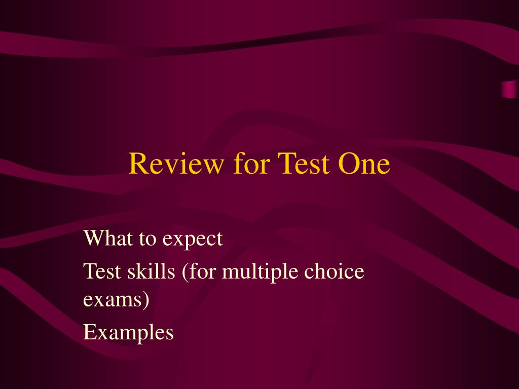 review for test one l.