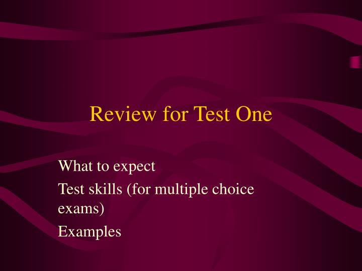 review for test one n.