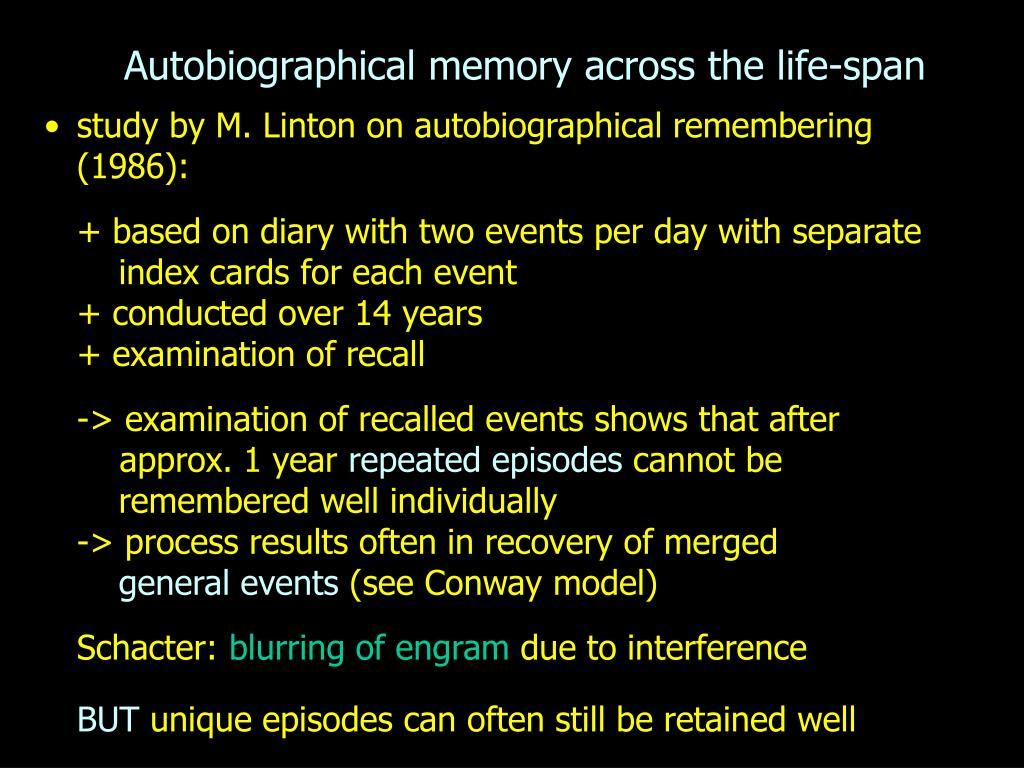 autobiographical memory across the life span l.