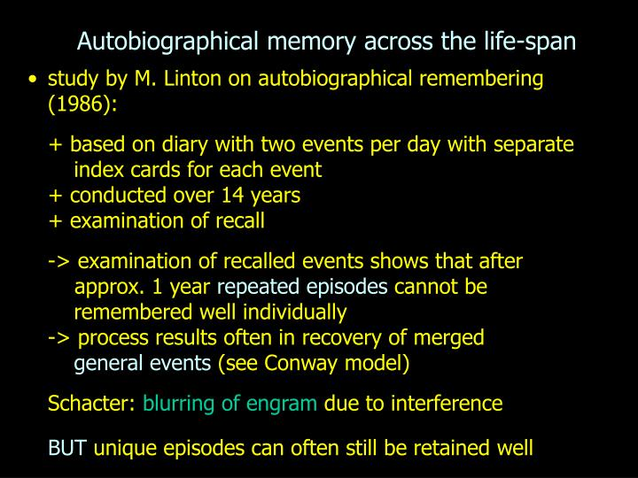 autobiographical memory across the life span n.