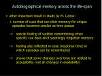 autobiographical memory across the life span2