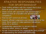 athletes responsibilities for sportsmanship