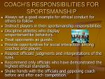 coach s responsibilities for sportsmanship