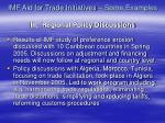 imf aid for trade initiatives some examples iii regional policy discussions