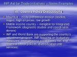 imf aid for trade initiatives some examples iv country policy discussions