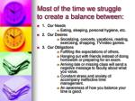 most of the time we struggle to create a balance between
