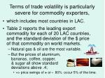 terms of trade volatility is particularly severe for commodity exporters