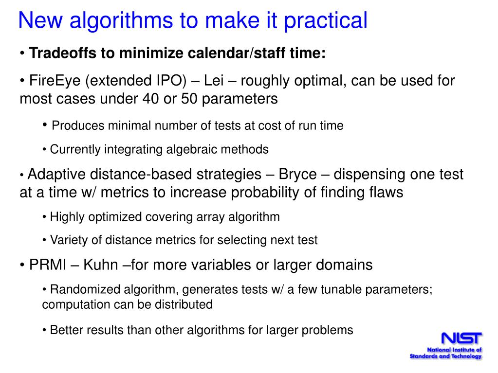 New algorithms to make it practical