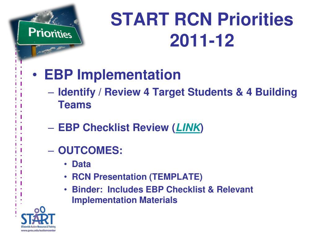 START RCN Priorities 2011-12
