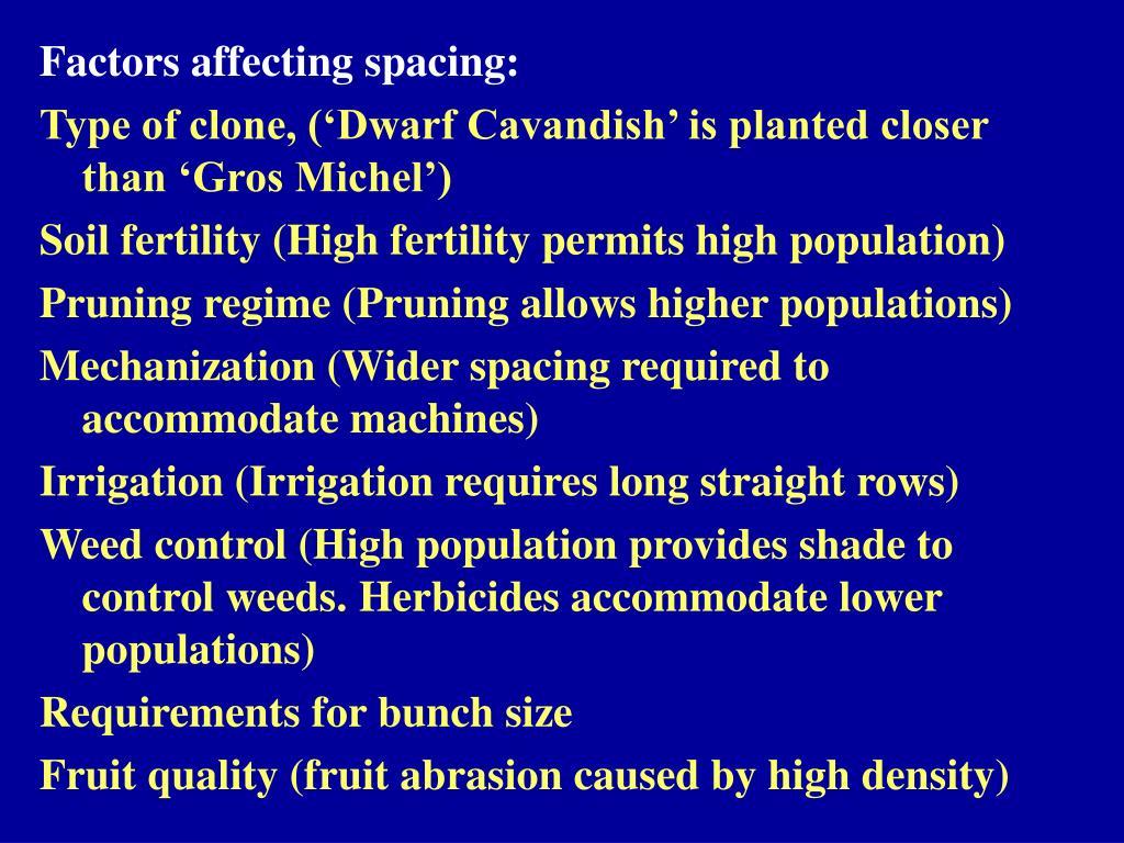 Factors affecting spacing: