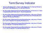 term survey indicator