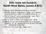 efik roots not found in north west bantu zones a b c