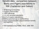 genetic data comparison between bantu and pygmy populations in nw cameroon and gabon