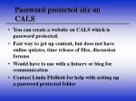 password protected site on cals