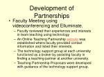 development of partnerships