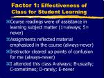 factor 1 effectiveness of class for student learning