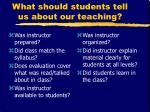 what should students tell us about our teaching
