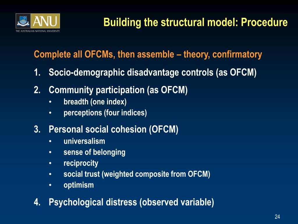 Building the structural model: Procedure