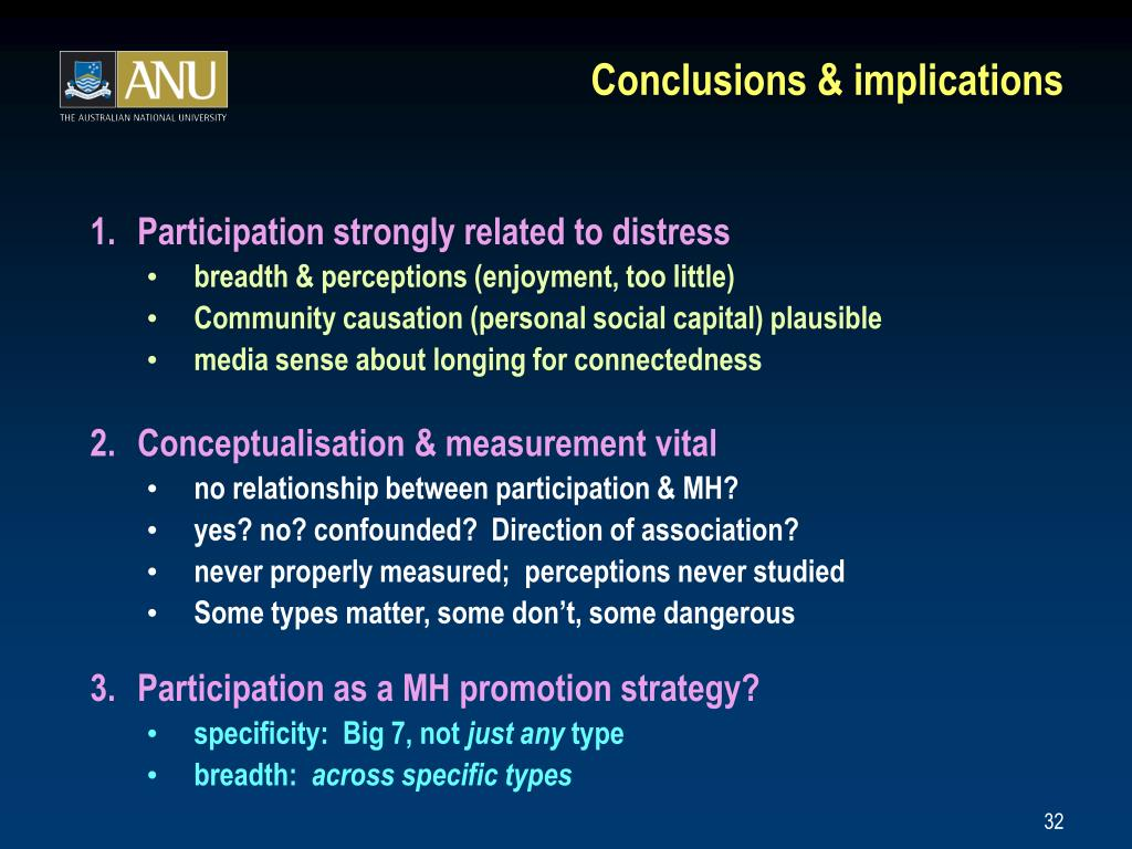 Conclusions & implications