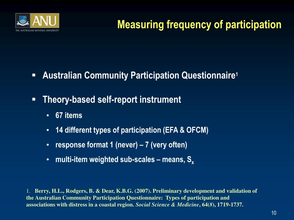 Measuring frequency of participation