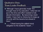 qualitative data team leader feedback25