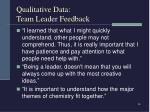 qualitative data team leader feedback26