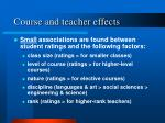 course and teacher effects