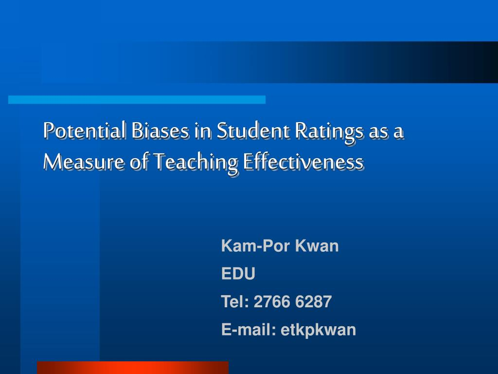 potential biases in student ratings as a measure of teaching effectiveness l.