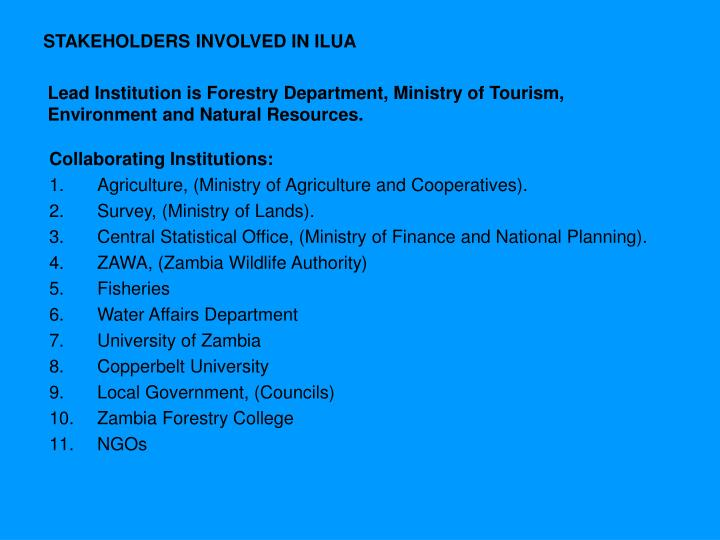 STAKEHOLDERS INVOLVED IN ILUA