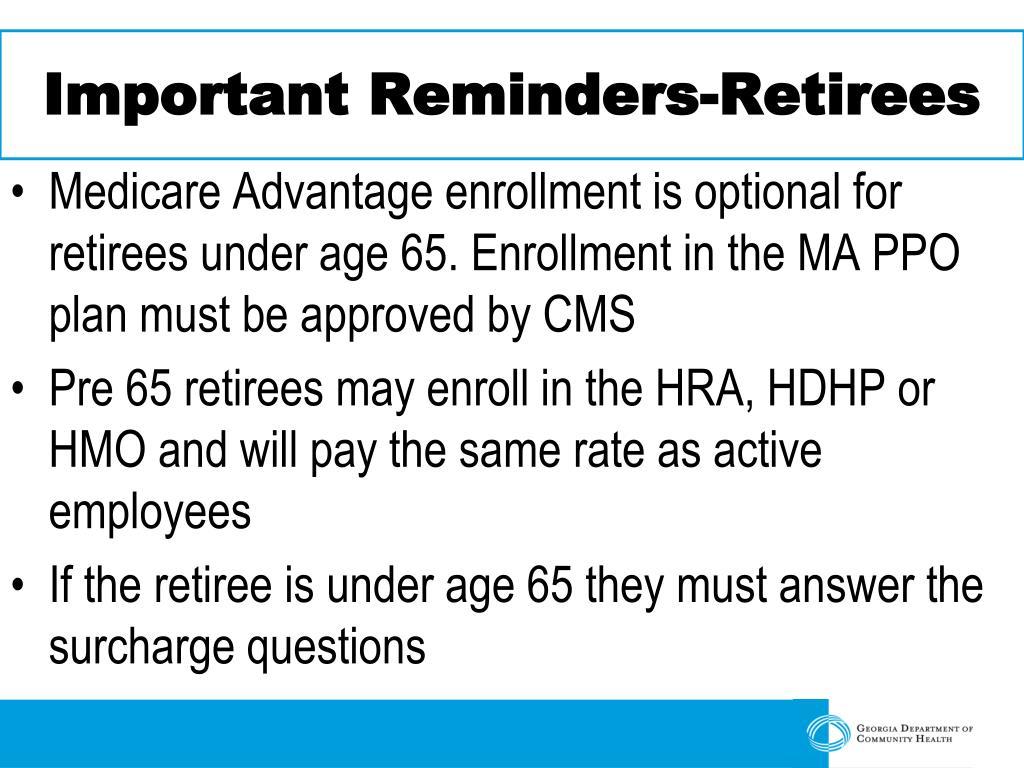 Important Reminders-Retirees