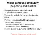 wider campus community beginning and middle