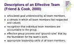 descriptors of an effective team friend cook 2000
