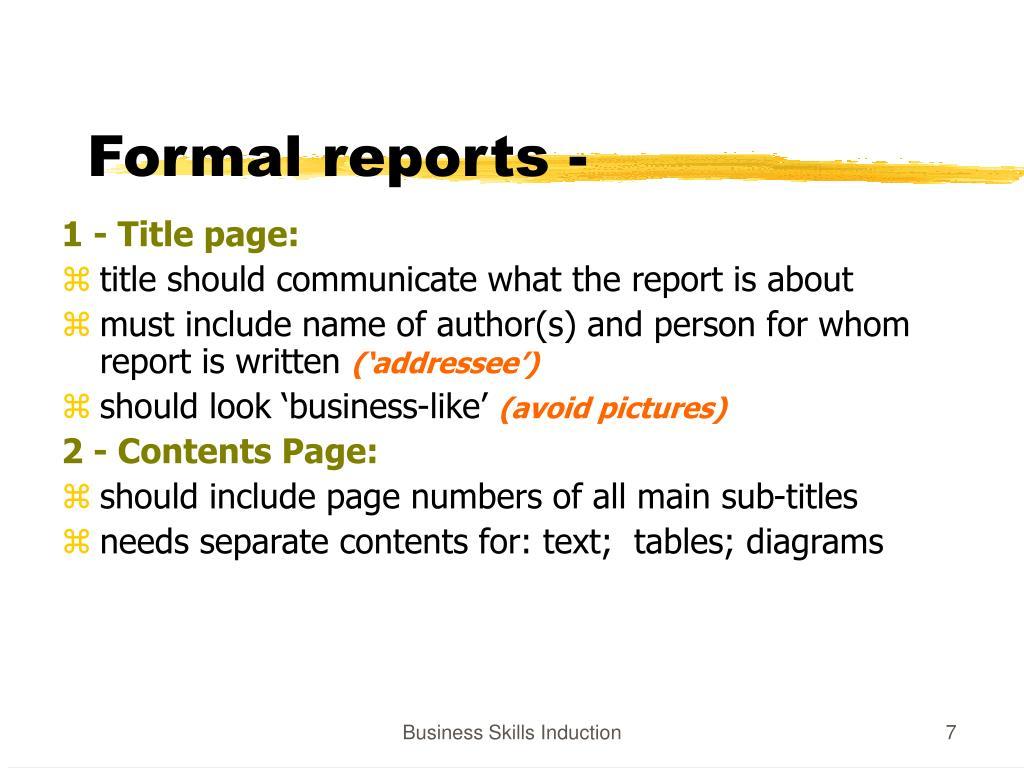 formal report long Formal reports are divided into many parts to make information comprehensible and accessible although there are many different kinds of formal reports, the only distinction to make is the different methods to place the information on the page (apa, mla), and some optional extra components for long formal reports.