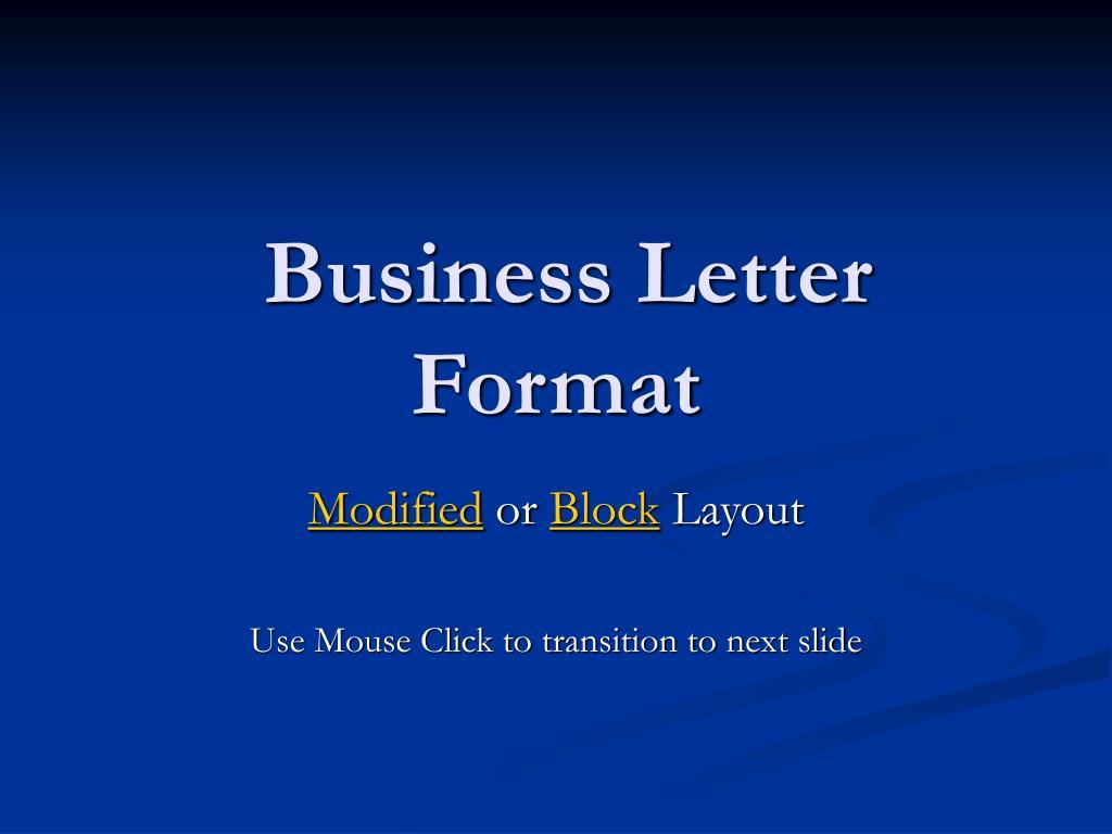 business letter format l.