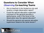 questions to consider when observing co teaching teams