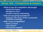 comp adv competition industry