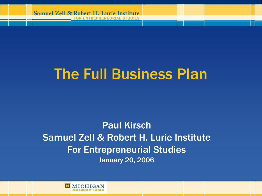 the full business plan l.