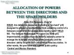 allocation of powers between the directors and the shareholders19