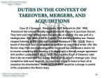 duties in the context of takeovers mergers and acquisitions14