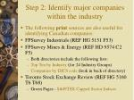step 2 identify major companies within the industry12