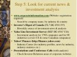 step 5 look for current news investment analysis19