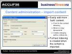 content administration import content