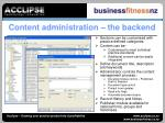 content administration the backend