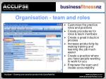 organisation team and roles