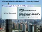 desired characteristics of mission critical applications