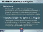 the mef certification program