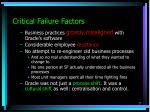 critical failure factors