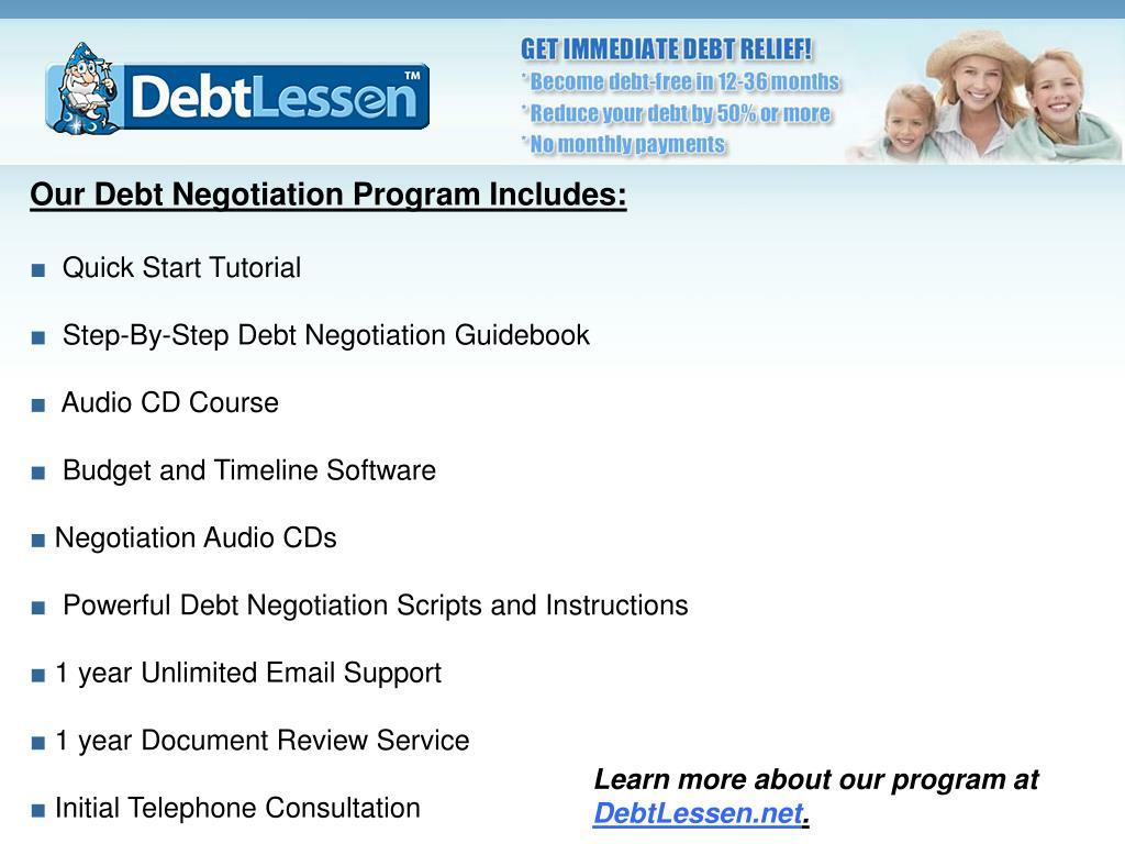 Our Debt Negotiation Program Includes: