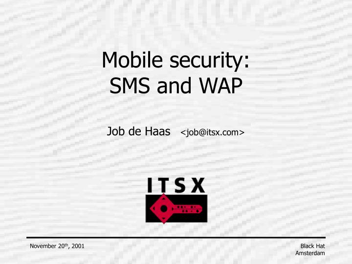 mobile security sms and wap n.